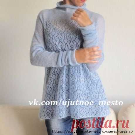 Тонкий пуловер из мохера