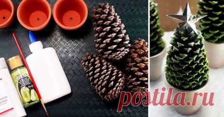 New Year's hand-made articles from cones. 20 examples how to make hand-made articles of cones for New year. | Private House