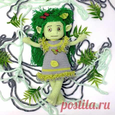"""Мастер-класс """"Кукла кикимора"""", схема вязания кукла крючком, описание вязания кукла крючком, амигуруми кукла, кикимора крючком, LanaMi toys"""