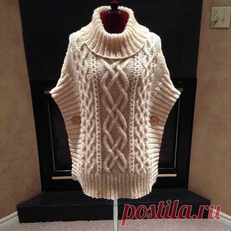 Тёплый жилет-пончо, стильно и удобно! из категории Интересные идеи – Вязаные идеи, идеи для вязания