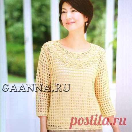Openwork blouse with the round coquette