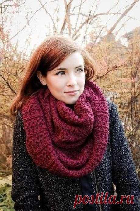 «Стокгольмский» шарф-снуд (Вязание спицами) | Журнал Вдохновение Рукодельницы
