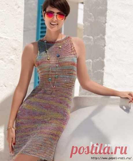 Вяжем летнее платье из пряжи секционного крашения своими руками!
