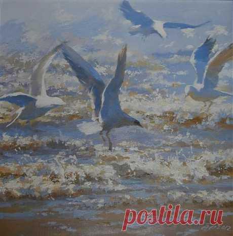 Чайки, волны, морской прибой! Художница Пайкуле Ария Таливалдовна.