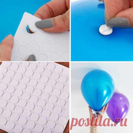 бесплатная доставка 100 точек воздушный шар прикрепление клей точка прикрепить воздушные шары к потолку или наклейки день рождения стену свадебные принадлежности купить на AliExpress