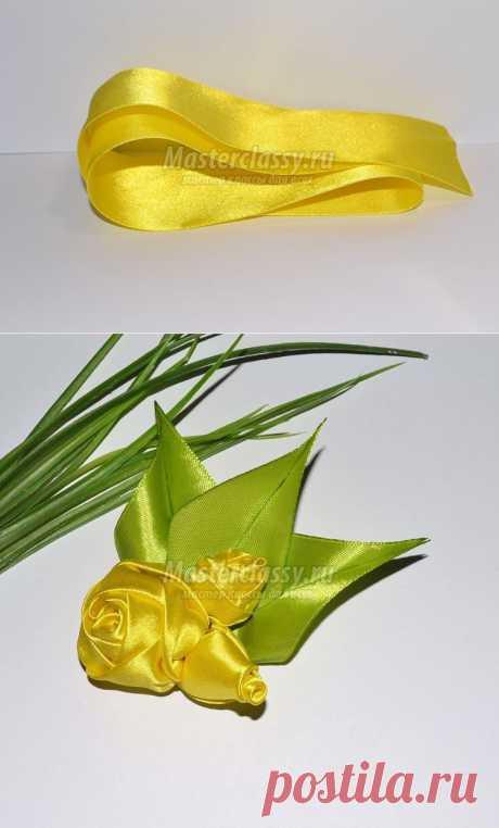 Цветы из лент – брошь жёлтый букетик. Мастер класс с пошаговыми фото