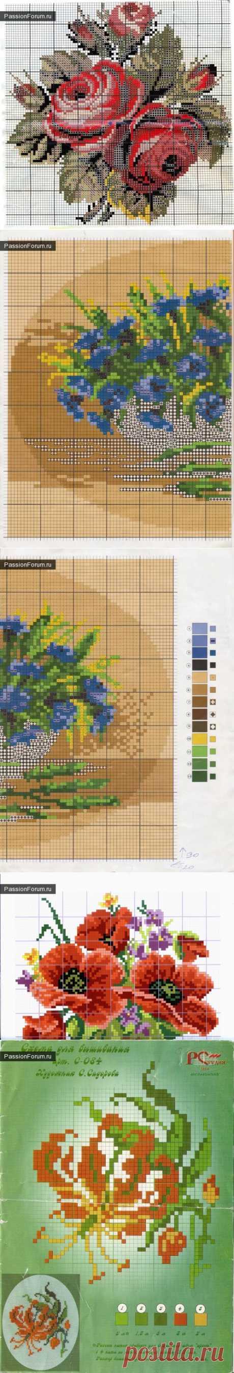 цветы / Вышивка / Схемы вышивки крестом