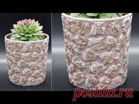Каменный горшок для каменной розы. Супер реалистичная имитация камня, декор своими руками