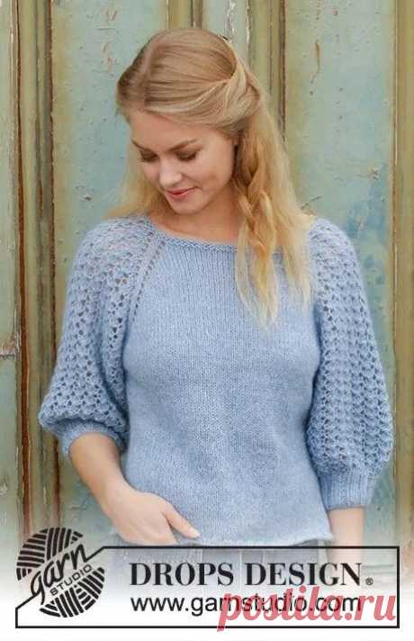 Пуловер для женщин регланом с ажурными рукавами, Вязание для женщин