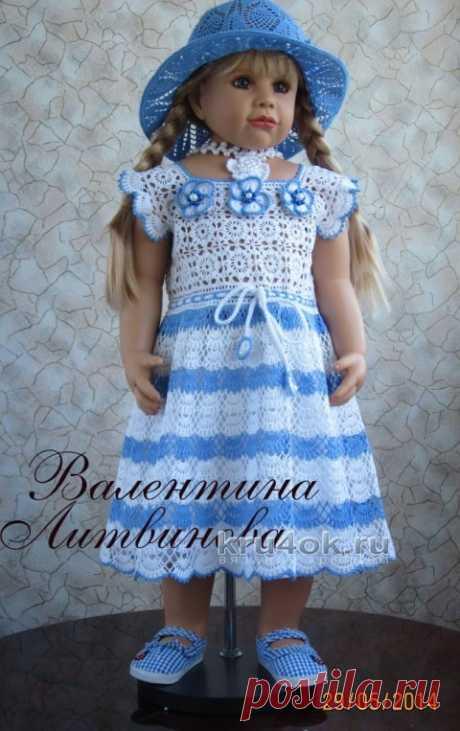 Вязаное детское платье – работа Валентины Литвиновой - вязание крючком на kru4ok.ru