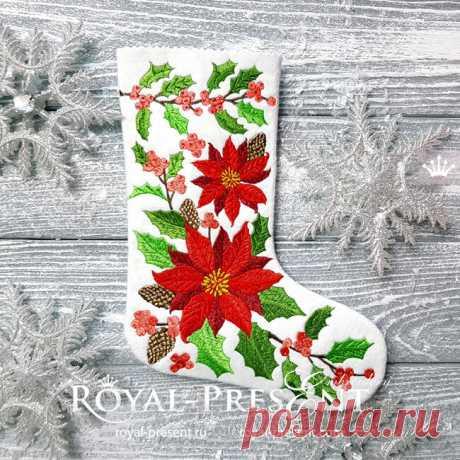 Дизайн машинной вышивки Новогодний Носок с пуансетиями