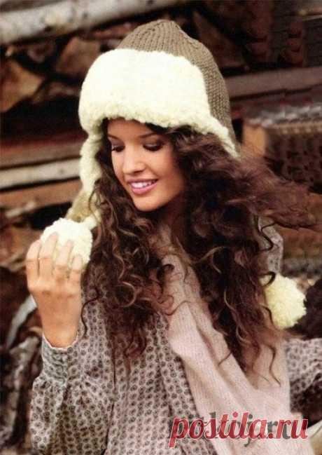 Зимняя шапка – ушанка спицами » Вязание для всей семьи