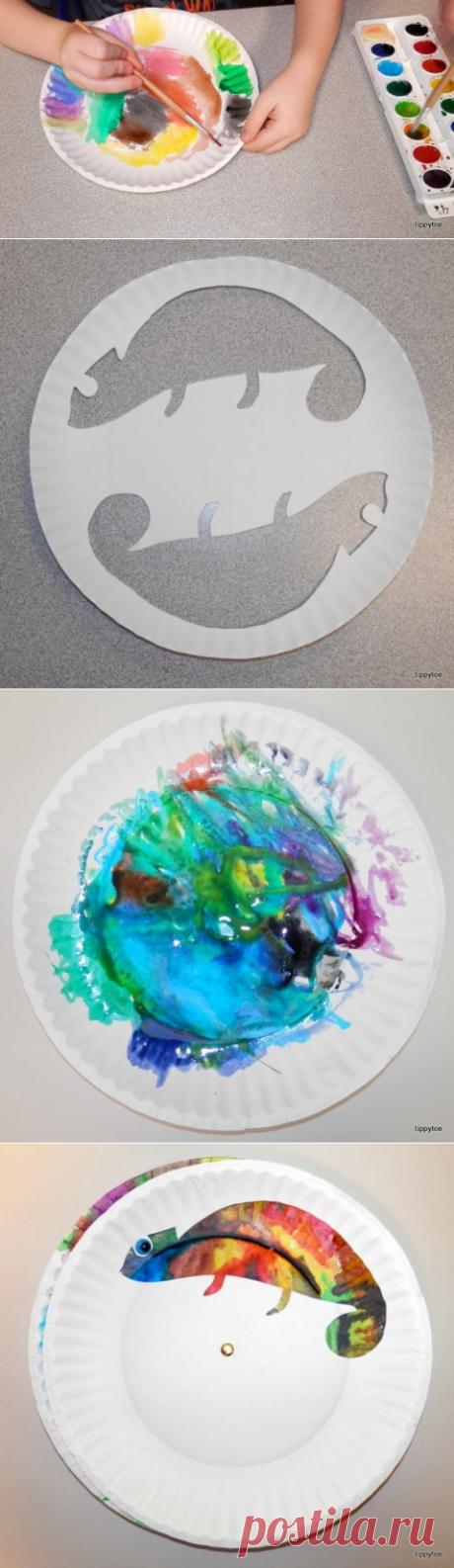 Chameleons on paper - Hand-made articles with children | Detkipodelki
