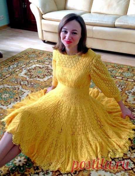 Желтое вязаное платье спицами. Yellow knitted dress spokes | Домоводство для всей семьи.