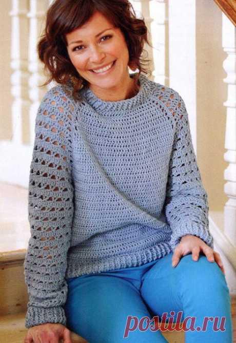 Ажурный пуловер с рукавом реглан для начинающих с описанием вязания крючком