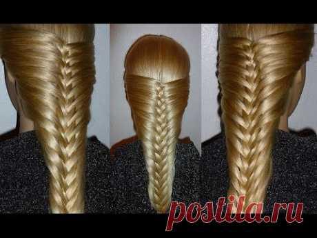 French kosa-Originalnaya. A hairdress for average, long hair. Hairdresses for girls in school