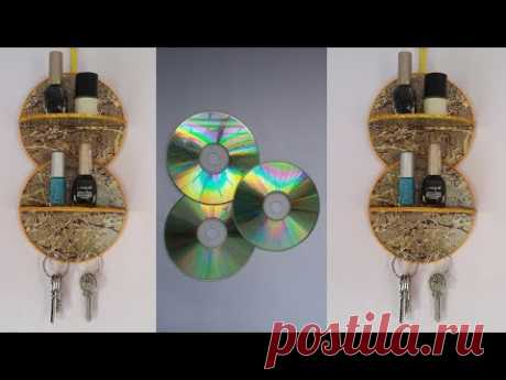 DIY: Waste  CD Craft!!! How to Make Makeup Organizer &Key Holder With Old CD/DVD!!! - YouTube