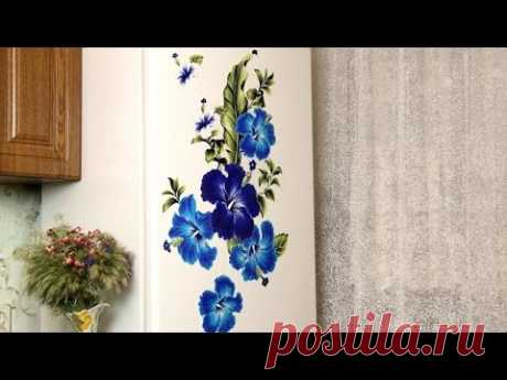 Bright Napkins on the Refrigerator | Decoration of kitchen the hands