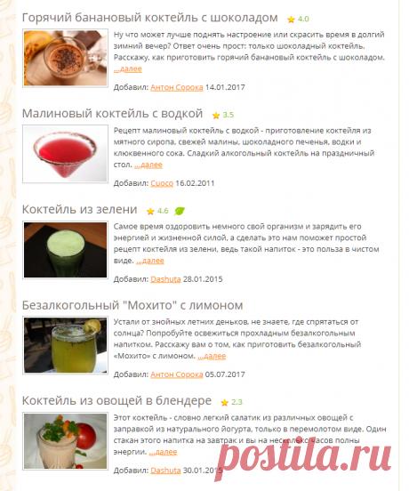 Коктейли - рецепты с фото на Повар.ру (441 рецепт коктейля)