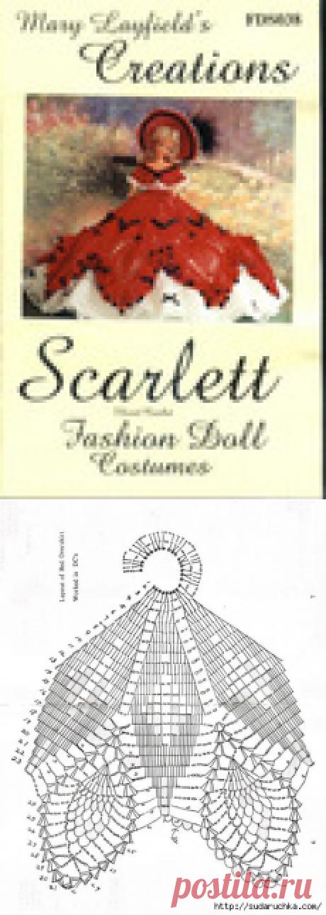 Вязанные платья для кукол. Схемы вязания крючком.