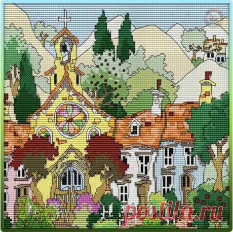 Яркие деревенские домики крестиком