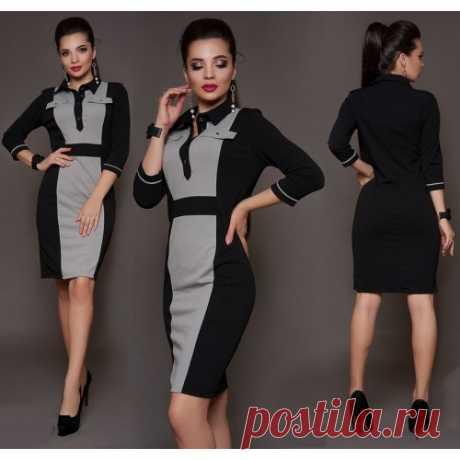 Платье офисное комбинированное купить недорого