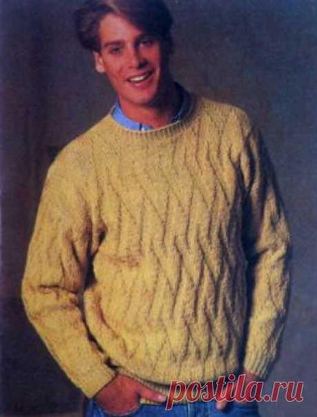 Несложный узор: мужской свитер спицами для начинающих