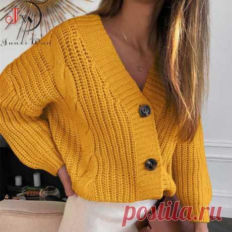 Женский короткий кардиган, вязаный свитер, Осень зима, длинный рукав, v образный вырез, джемпер, кардиганы, Повседневная Уличная мода, Pull Femme, пальто  вязаные безрукавки спицами крючком
