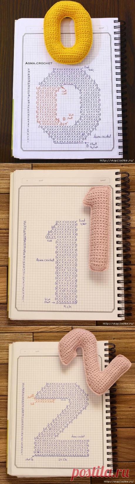 Цифры крючом - схемы.