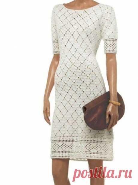 """Идея для вязаного платья, узор """"Ромбы"""" шикарно вписывается! из категории Интересные идеи – Вязаные идеи, идеи для вязания"""