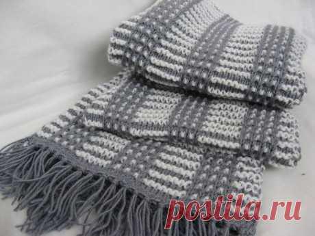 Красивый мужской шарф спицами, Вязание для мужчин