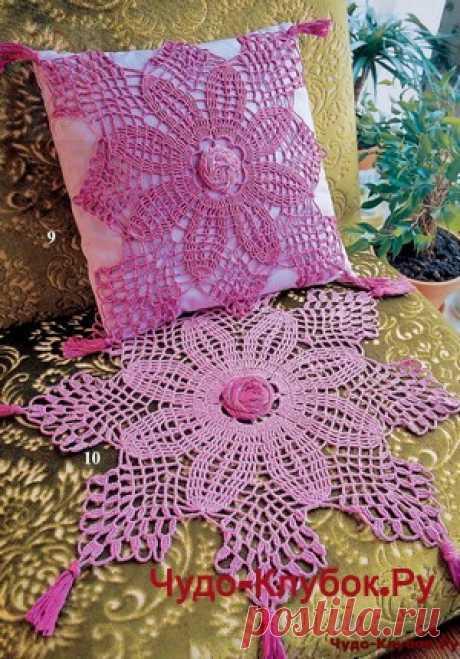 Украшение на подушку и салфетка сиреневого цвета | ✺❁сайт ЧУДО-клубок ❣ ❂✺Украшение на подушку и салфетка сиреневого цвета схемы и описание: ❂ ►►➤6 000 ✿моделей вязания ❣❣❣ 70 000 узоров►►Заходите❣❣ %