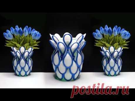 Plastic Spoon flower vase | Best out of waste | Ide kreatif sendok plastik | plastic spoon craft ide