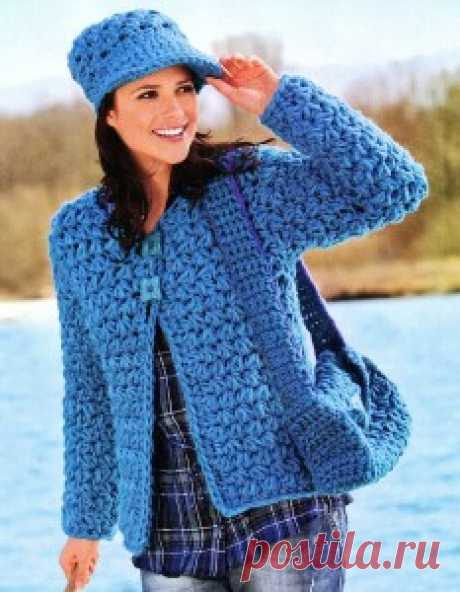 Жакет, сумка и кепка | Вязание крючком, схемы вязания, бесплатное вязание крючком