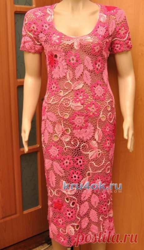 Вязаное платье в технике ирландского кружева