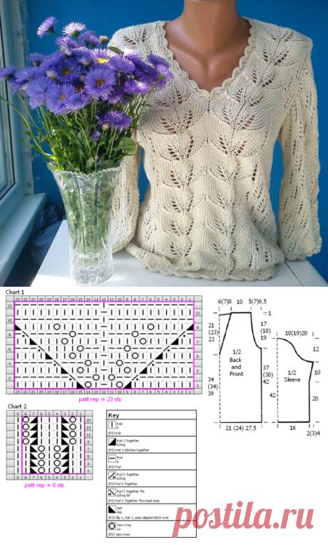 Красивый пуловер спицами.Схема пуловера с V-образным вырезом | Я Хозяйка