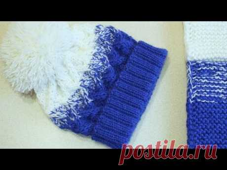 """CAP SPOKES """"ЭФФЕКТ ДЕГРАДЕ"""" WITH THE POMPON, THE PATTERN RHOMBUSES. SET: THE CAP, SNUD IN 2 TURNS AND MITTENS"""