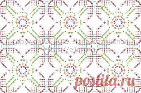Безотрывное вязание квадратных мотивов «Клевер» | Вязание крючком от Елены Кожухарь