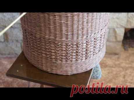 Большая цилиндрическая форма для ровного плетения бумажными трубочками