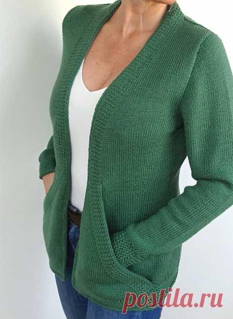 Knitting of a cardigan of Cross Pockets is Вяжи.ру