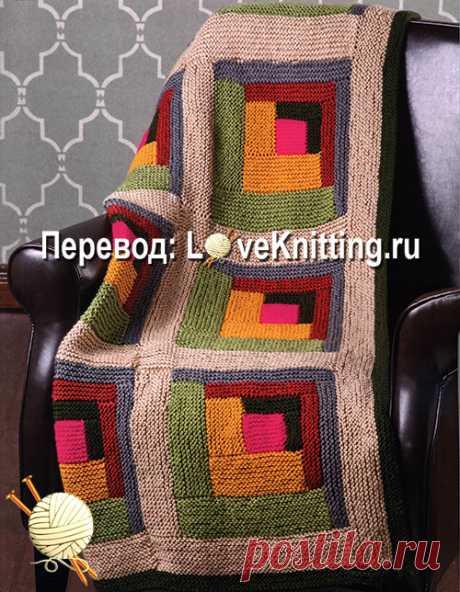 Плед в технике лоскутного вязания от дизайнера Amy Gunderson.