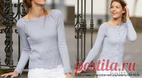 Пуловер с фантазийным ажурным узором