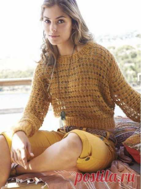 Изысканный пуловер спицами из категории Интересные идеи – Вязаные идеи, идеи для вязания