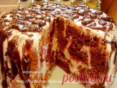 Шоколадный торт с творожно-йогуртовым кремом.