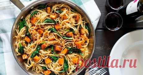 Спагетти с тыквой Сытное блюдо для простого обеда или праздничного ужина.