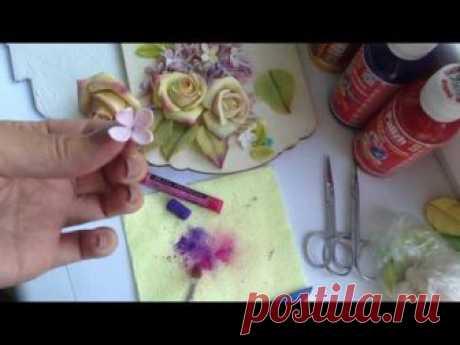 Соленое тесто.Панно с сиренью и розами.  Часть 1, продолжение