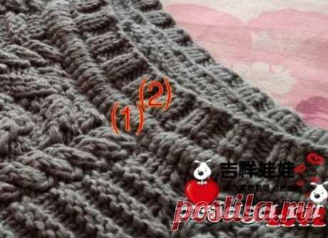 Пуловер – туника спицами с круглой кокеткой