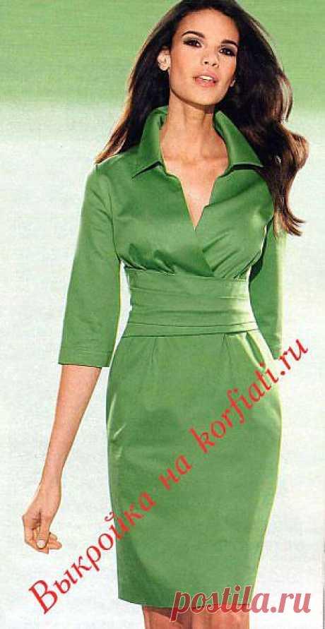 ШКОЛА ШИТЬЯ: Эффектное зеленое платье с воротником - выкройка от Анастасии Корфиати