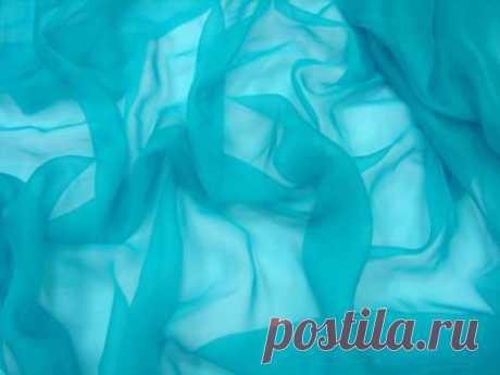Однотонный шифон - голубой с оттенком в бирюзу - купить ткань онлайн через интернет-магазин ВСЕ ТКАНИ
