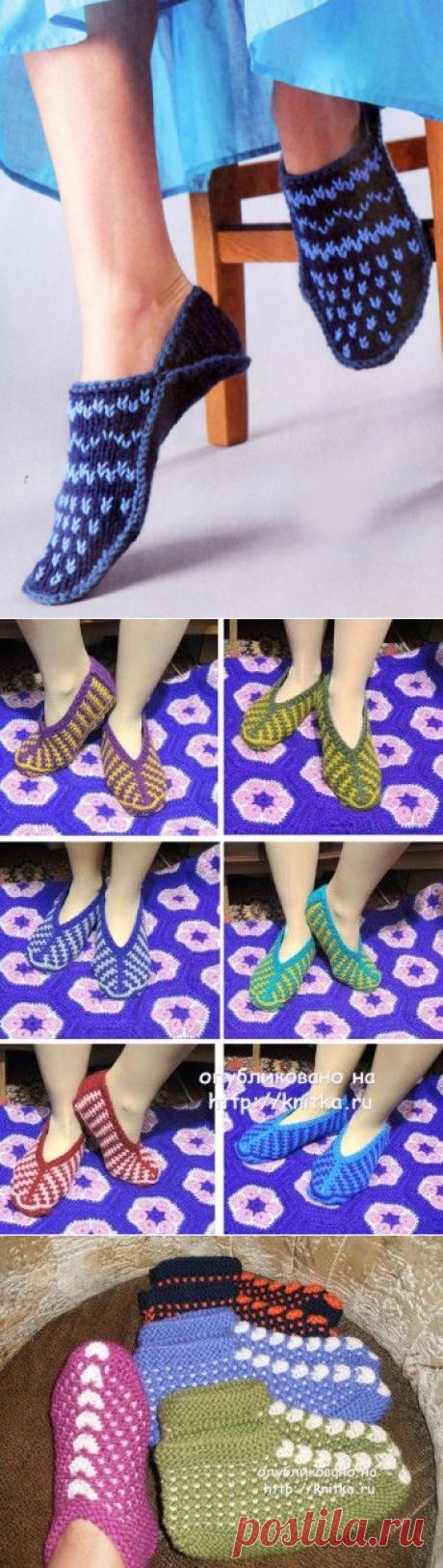 Как связать тапочки на двух спицах, Вязание для женщин